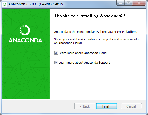 Anaconda for Windows インストーラー